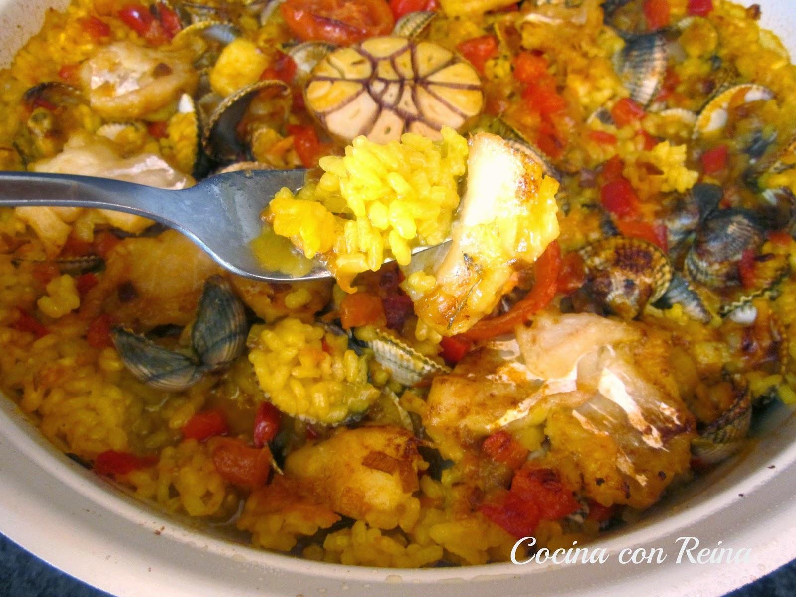 Arroz al horno con migas de bacalao y berberechos cocina - Como cocinar berberechos ...