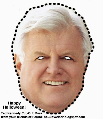 Ted Kennedy cut out mask Happy Halloween