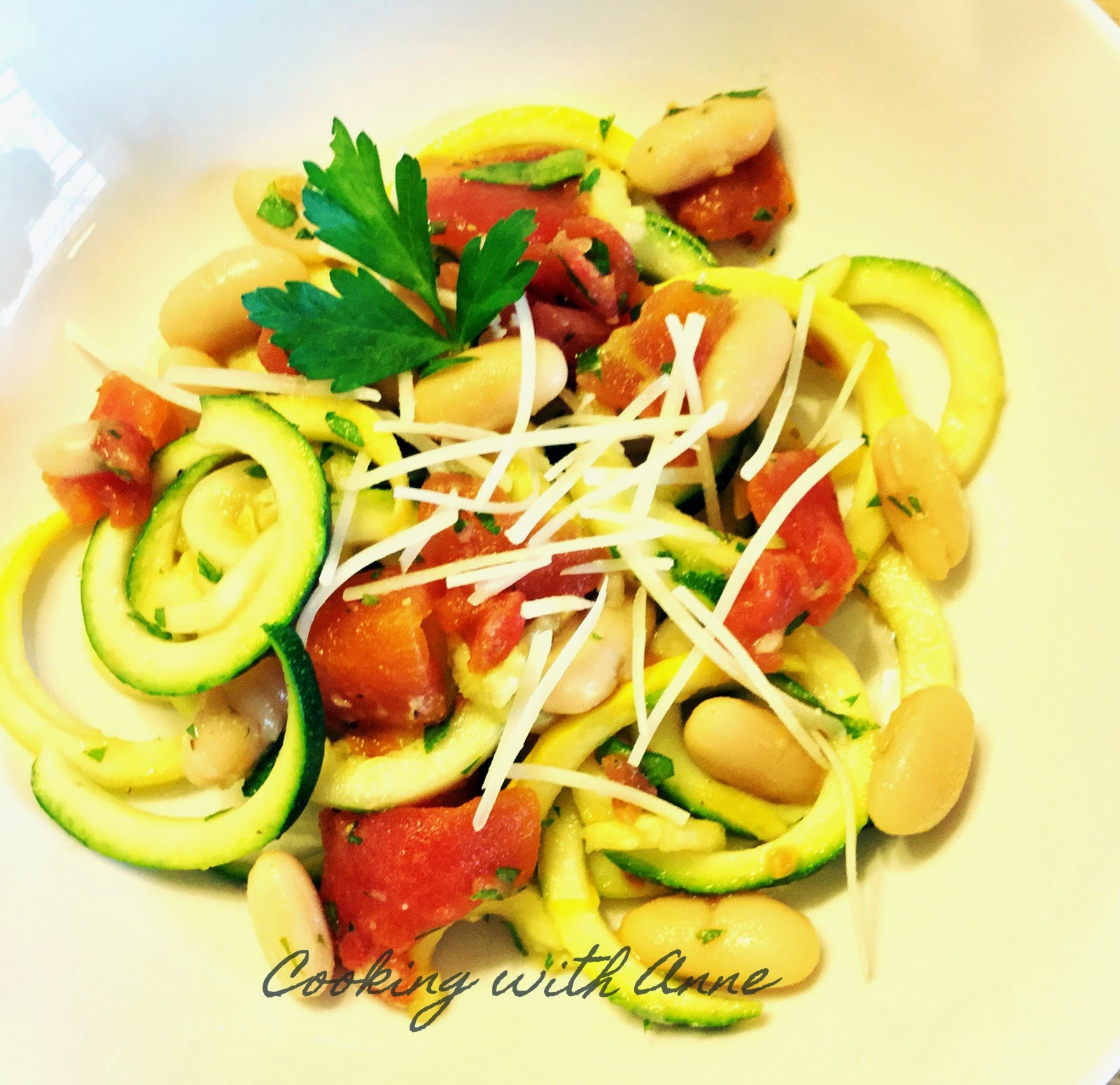 "Light and Lemony Spiralized Veggie ""Pasta"" Salad"