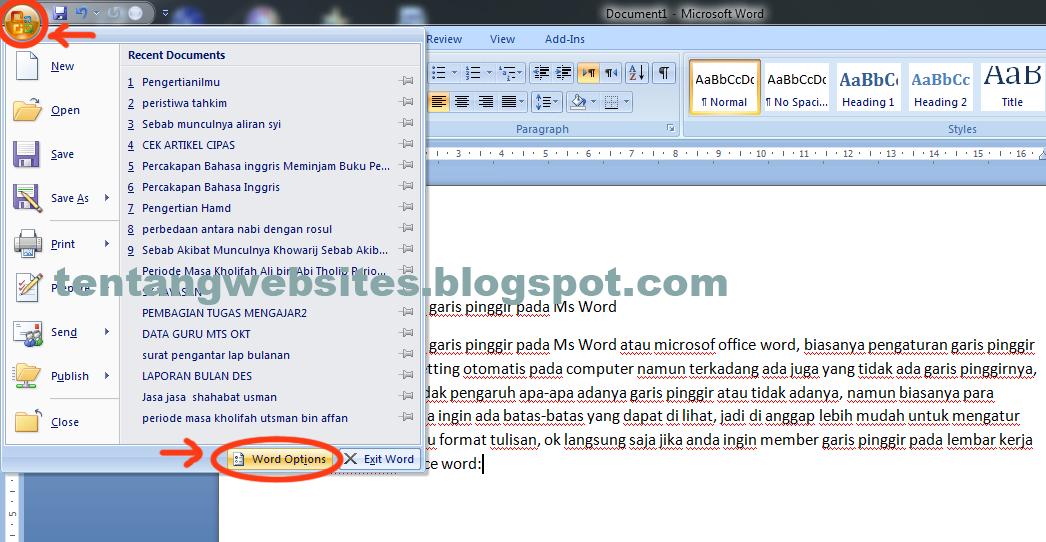 bagaimana mengatur standard ukuran centimeter pada aplikasi microsof office word