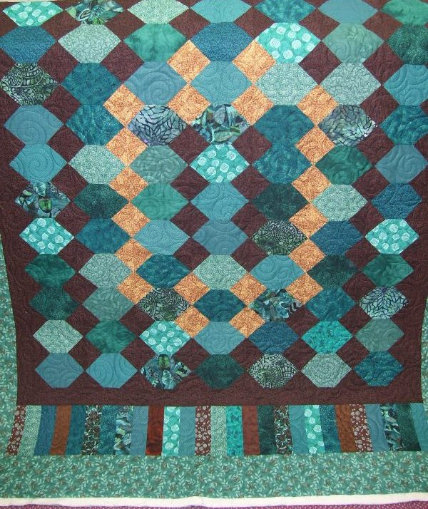 pieceful kwilter: February 2012 : teal and brown quilt - Adamdwight.com