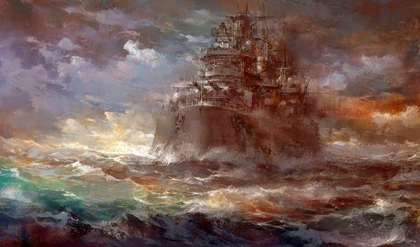 Jae-Cheol Park paperblue ilustrações paisagens cenários naves militares fantasia ficção científica