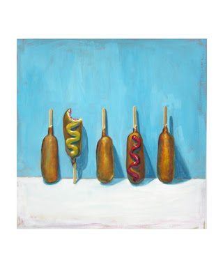 painting of junk food: 5 corn dogs