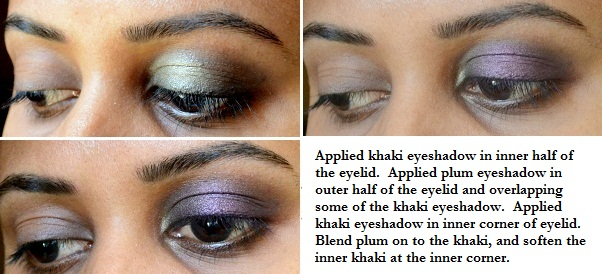 eye makeup tutorials eotd fotd inglot eyeshadow purple plum khaki maybelline