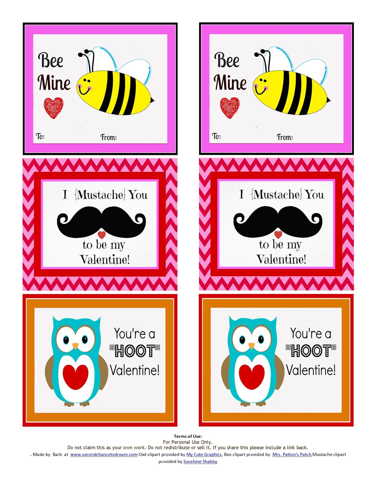 printable valentine u0027s day cards and cupcake toppers second