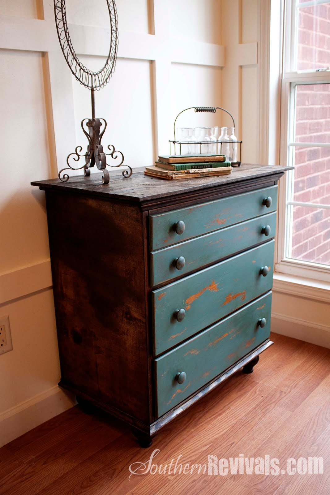 old furniture makeover. Vintage Chest Of Drawers Revived With A Shipping Pallet | Revival - Southern Revivals Old Furniture Makeover
