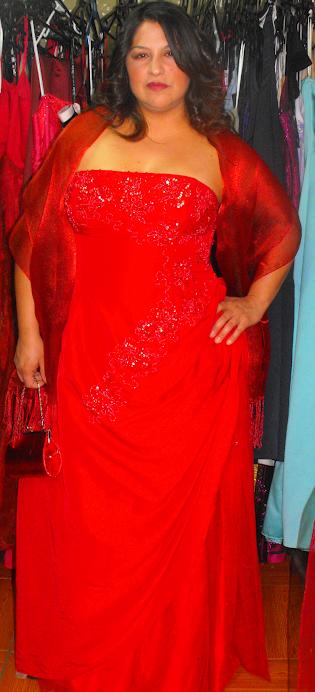 vestido taffeta rojo ajustable a talla 44 a 48