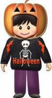 ハロウィンのかぼちゃ仮装した男の子イラスト