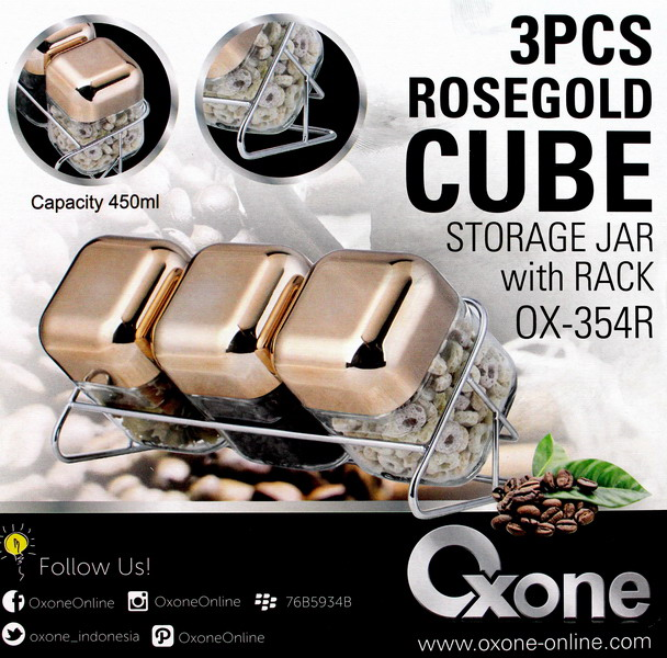 OX-354R Oxone Toples 3pc Rosegold Cube