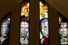 Stained-glass Portraits of composers : the fab four... Bach Beethoven Mozart Schubert