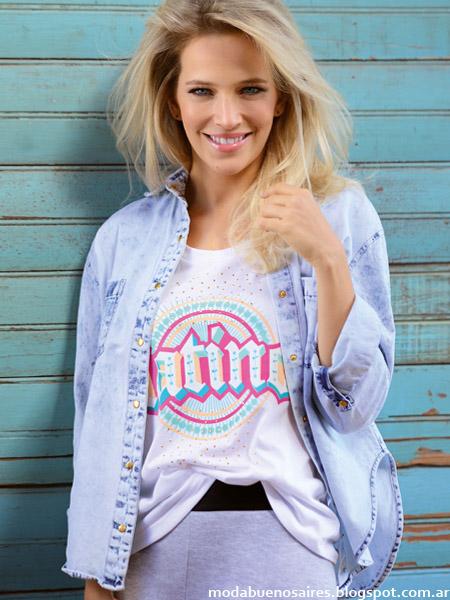 Remeras y camisas de jeans moda verano 2015 Marcela Koury.