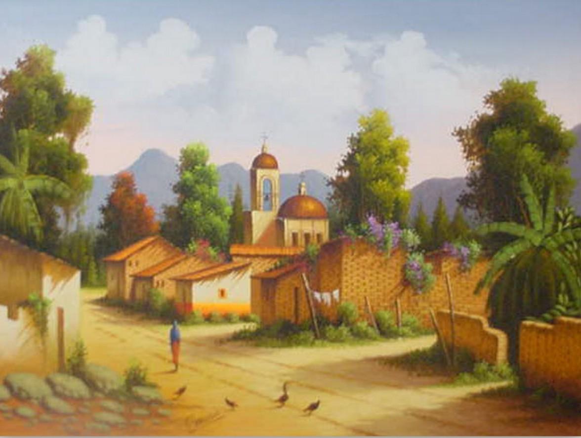 pintura tradicional mexicana paisajes antiguos y coloniales pintura