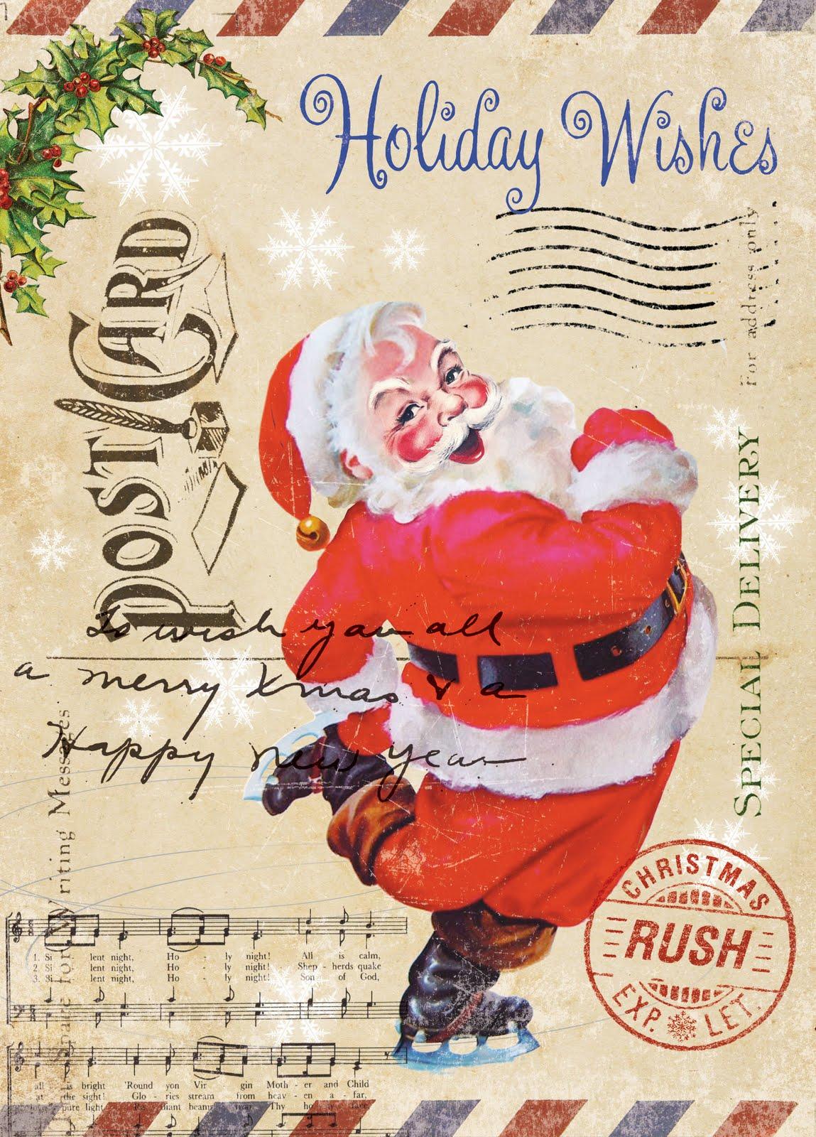 Card post santa vintage
