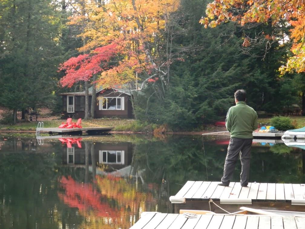 Lake Muskoka fall colours still water fishing by garden muses--a Toronto gardening blog