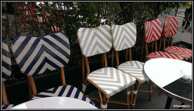 Café Français chaises coeur bleu blanc rouge, Bastille, Paris Costes Beaumarly design