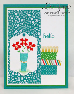 Pictogram Punches Stampin' Up! stamp set with Cherry on Top Washi tape. Vase of flowers on handmade card. Lisa Young, Add Ink and Stamp