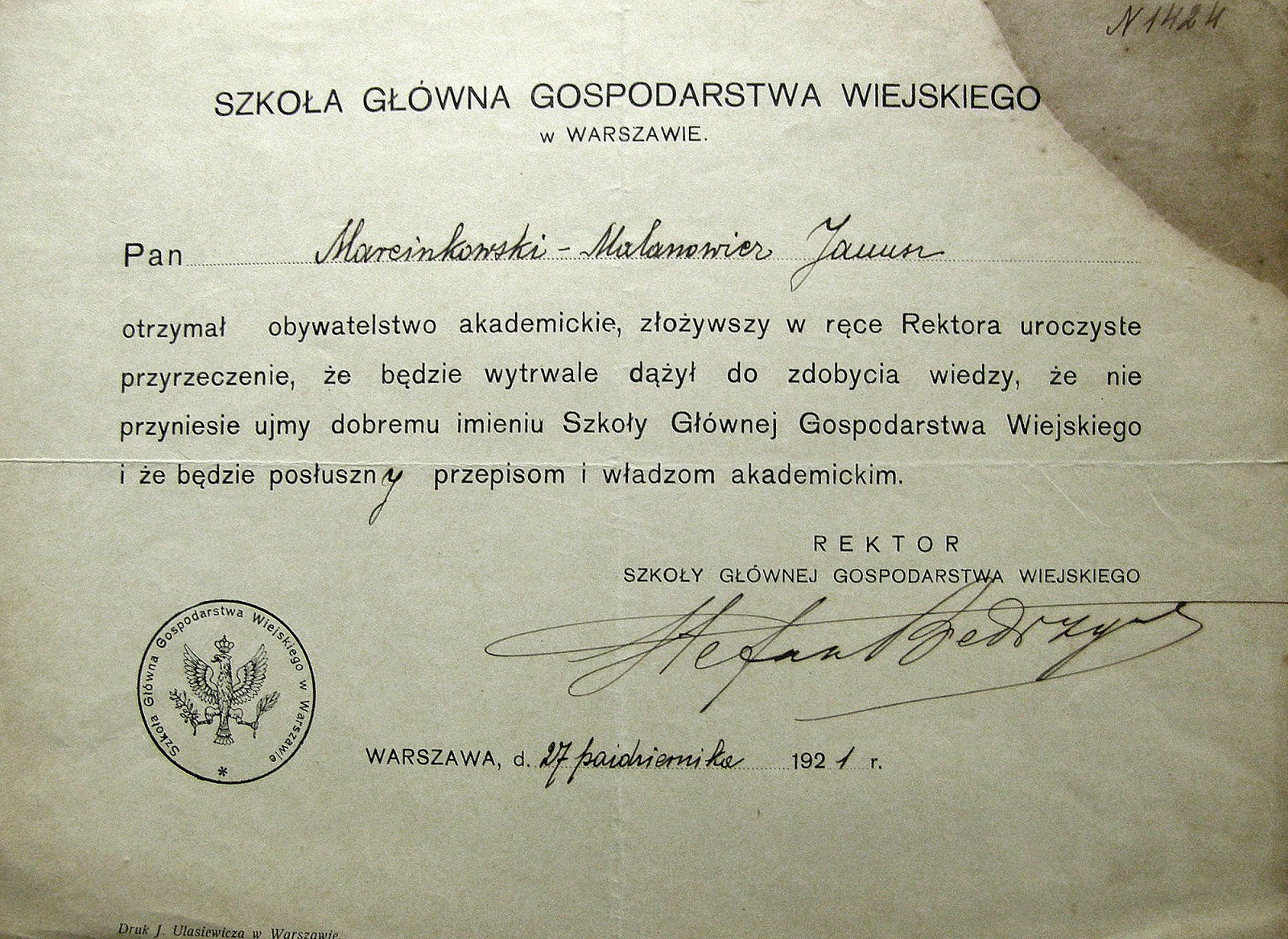 """Janusz Marcinkowski-Malanowicz """"otrzymał obywatelstwo akademickie"""", 27.10.1921 r. Trzeba dodać, że decyzją Wojewody Kieleckiego z dnia 6.11.1925 r. udzielił zgody na zmianę zgody nazwiska rodowego Marcinkowski na nazwisko Malanowicz. Dokument udostępniła Małgorzata Malanowicz."""