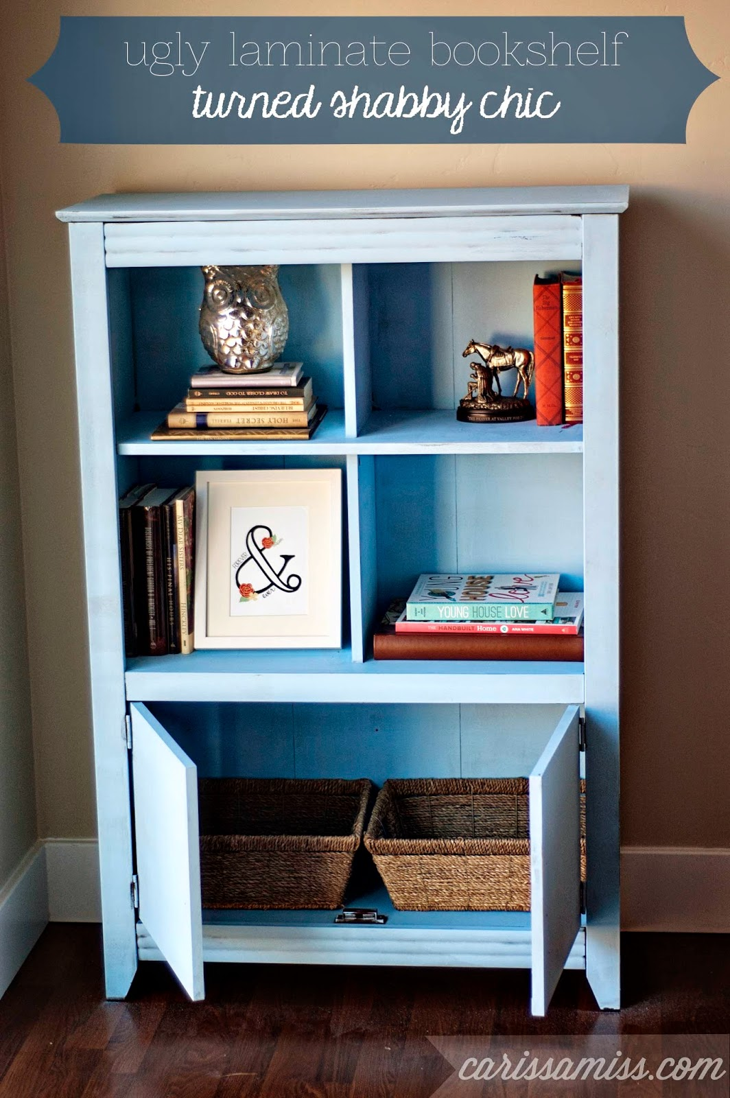 Carissa Miss: Ugly Laminate bookshelf turned shabby chic