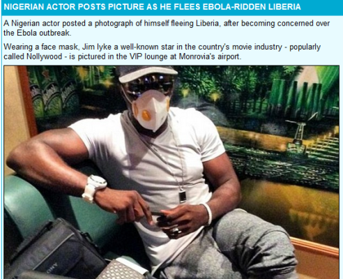 Ebola Virus - Nollywood Actor Jim Iyke flees Liberia wearing Ebola mask, get featured in Daily Mail UK