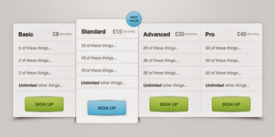 Pricing Table PSD File