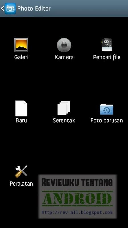 Tampilan utama aplikasi android Photo Editor - aplikasi edit foto yang memiliki banyak fasilitas (rev-all.blogspot.com)