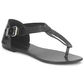 Black plaited toe post sandals