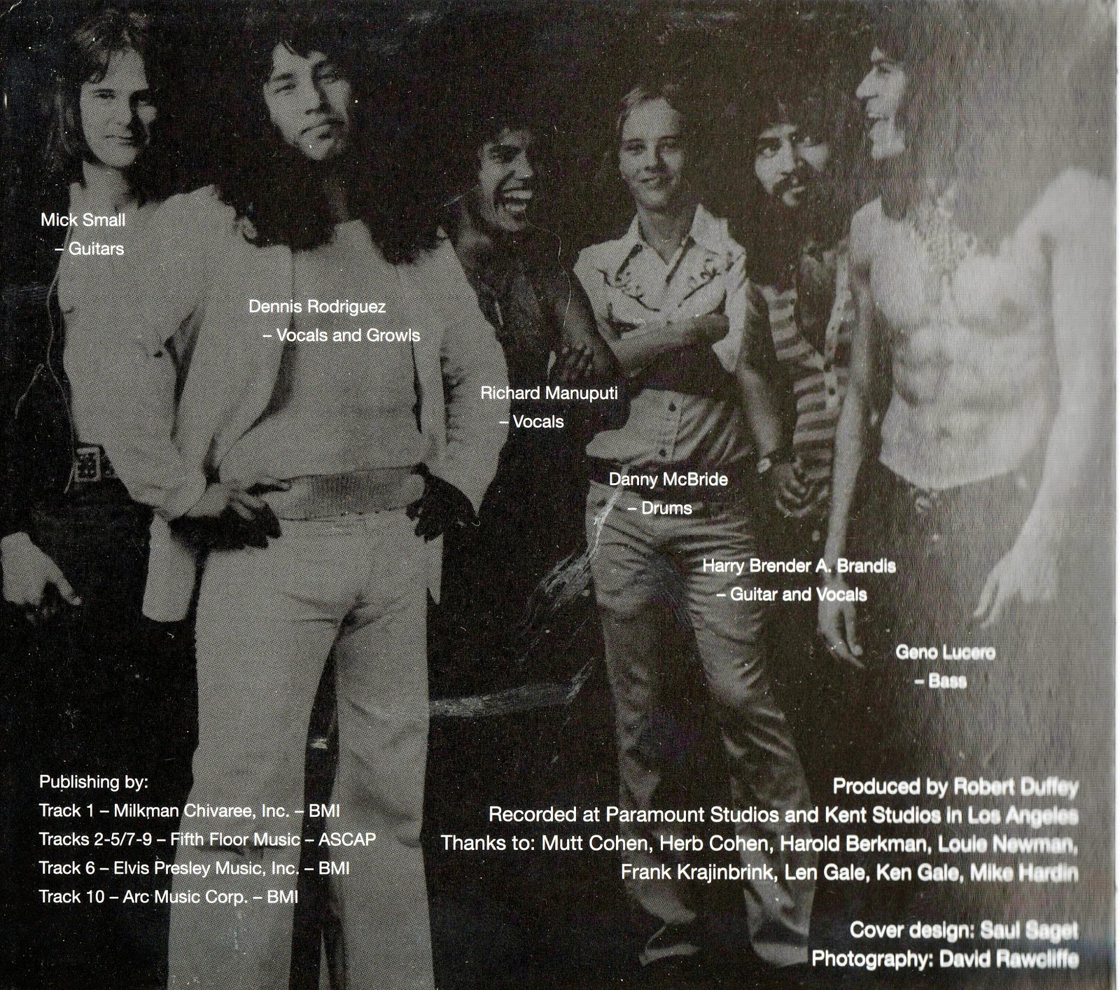 Growl LP (1974) rear showing band