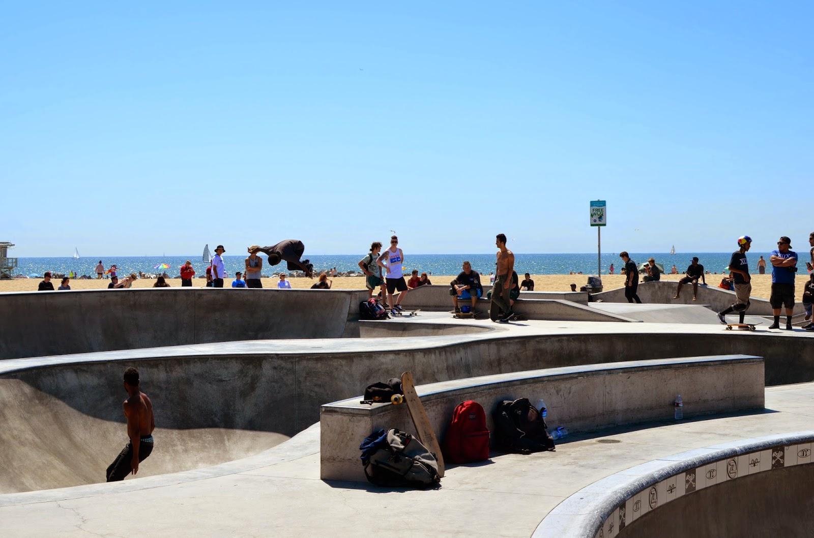 Rag & bone, denim high waisted skirt, denim skirt, off the shoulder top, spring style, Venice, Venice beach, LA, slide sandals, Matisse, DSW, black straw fedora, skate park in Venice Beach