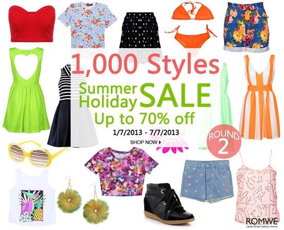 Romwe Summer Holiday Sale  1000 styles!  Up to 70% off