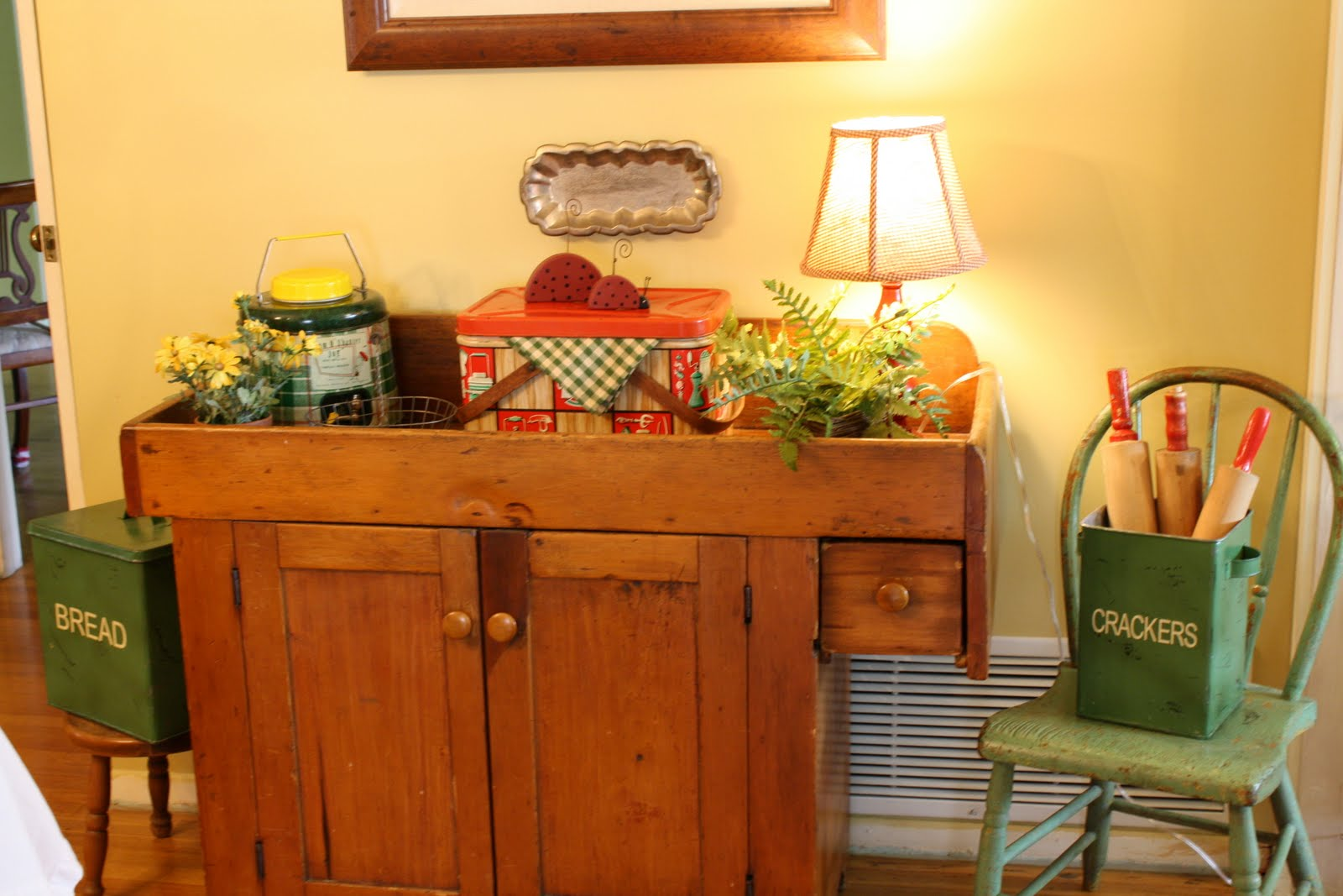 Great Antique Dry Sink With Vintage Picnic Items And Rolling Pins