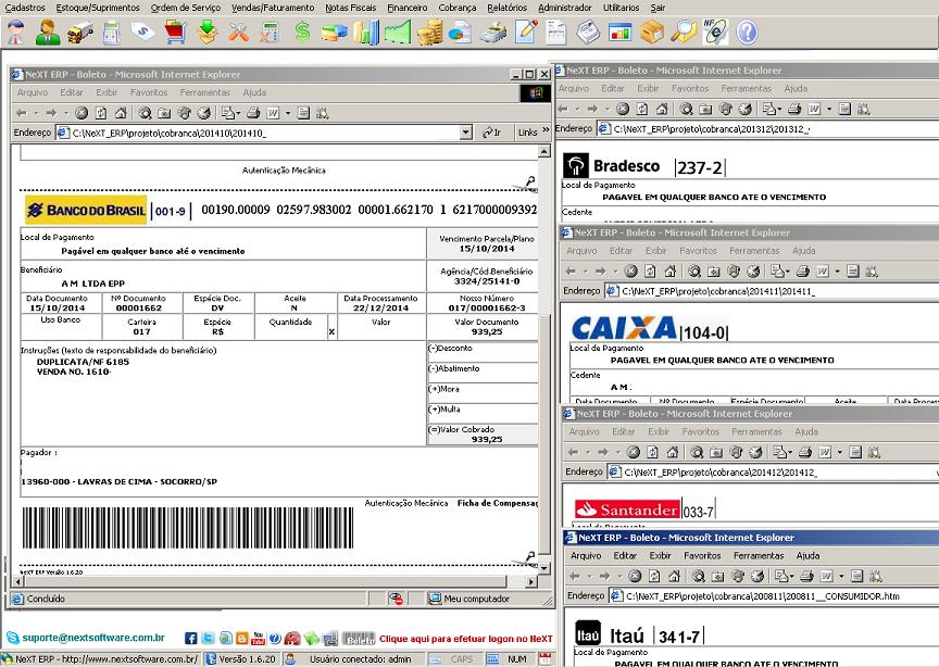NeXT ERP 171 cobrança CNAB boletos caixa bradesco banco do brasil itau santander banespa