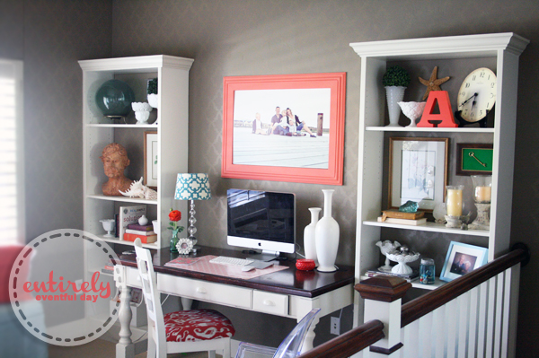 home office diy. DIY Home Office Reveal {Coral And Aqua Space} Diy