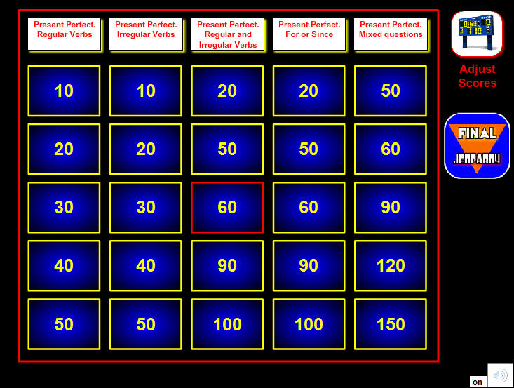 A Door To English Ultimate Challenge Present Perfect Jeopardy