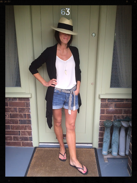 My Midlife Fashion, Panama Hat, Waterfall Cardigan ASOS, Zara, Mango, Ethnic Cotton Blend Belt, Camisole, Topshop, Denim Shorts, HM, La Redoute, Havaianas