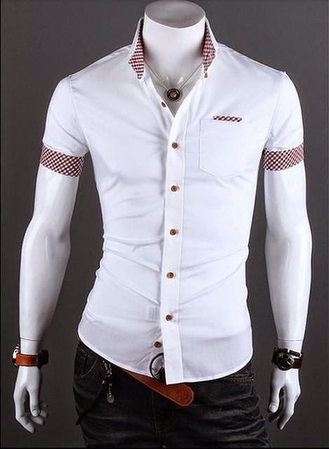 Camisa Casual Slim Fit Manga Corta - Detalle en Bolsillo y Mangas - Blanca (MH476)