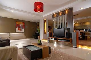 Sala de estar mobilada com pontos de luz