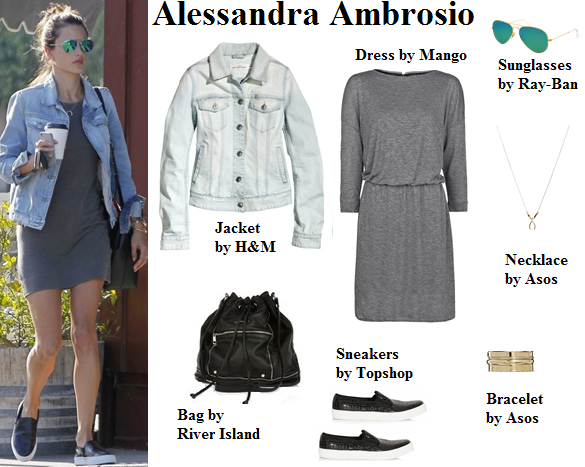 alessandra ambrosio, casual, denim jacket