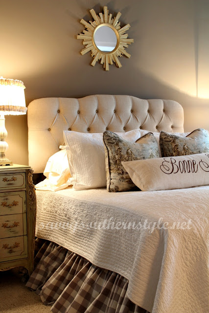 Elegant A new tufted headboard in an oatmeal linen replaced the big wood bed My style was changing and this bed was certainly a better fit
