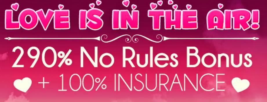 290% No Rules + 100% Insurance RTG Casino Bonus Valentine's Day