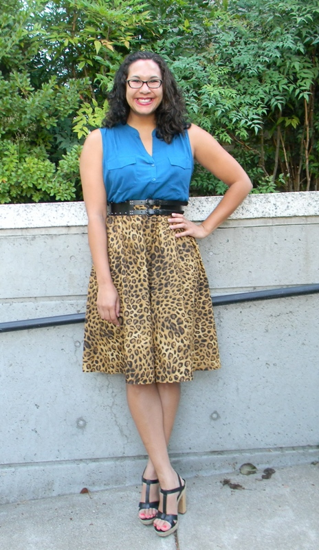 9.18.12+leopard+skirt,+studded+belt,+blu