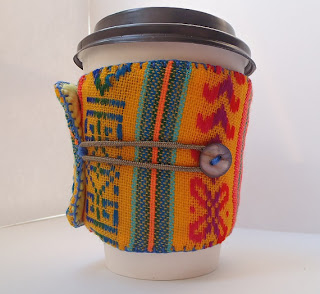 coffee sleeve drink cozy Mexican fabric bold brights yellow teal red pink