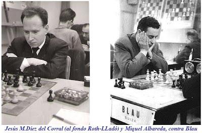 Los ajedrecistas españoles Jesús M. Díez del Corral y Miquel Albareda contra Blau