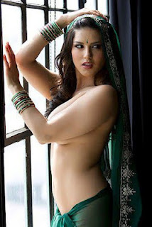 Sunny Leone Hot Green Saree Topless Indian Dress - Sunny Leone Unseen Photo and Wallpaper