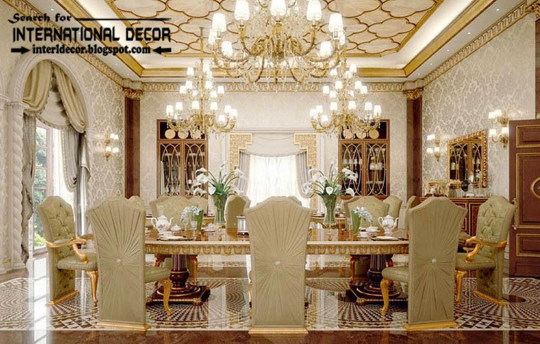 Luxury classic interior design decor and furniture home for Interior design for hall and dining room