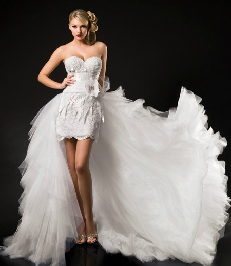 Short wedding dresses long train the hairs for Wedding dress long train