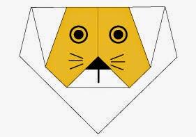 Bước 5: Vẽ mắt, mũi, râu để hoàn thành cách xếp mặt con sư tử giấy origami.