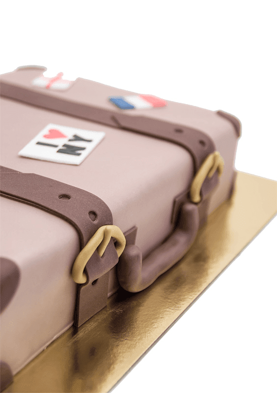Luggage cake close up shot on handle