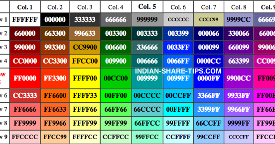 Internet html color table with hex code indian stock - How to create table in html code ...
