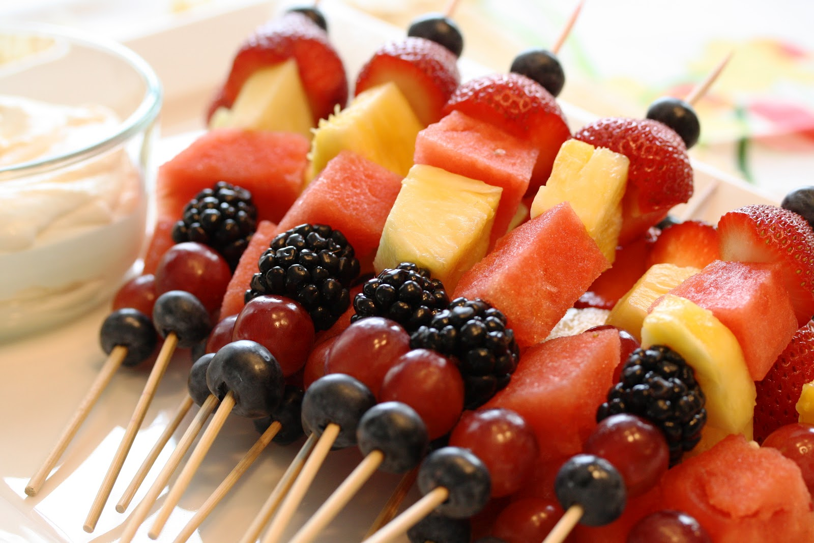 Summer Fruit Kabobs & Mascarpone Dip - Saving Room for Dessert