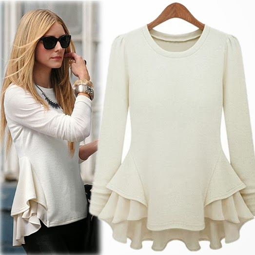 Long Sleeve Contrast Chiffon Ruffles T-Shirt For Fall